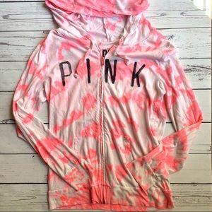 VS PINK neon tie-dye swim cover up beach hoodie